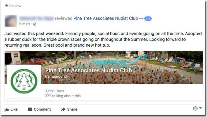 Reviews: Pine Tree Associates Nudist Club - Facebook review #1