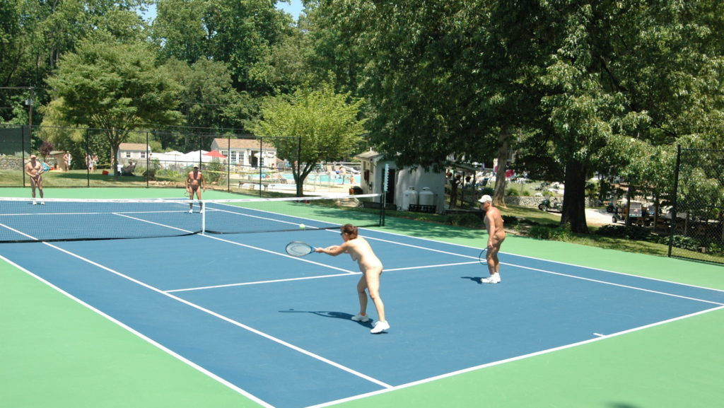 One of several tennis courts at Pine Tree Associates Nudist Club.