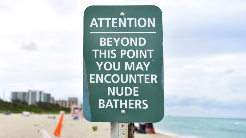 Beyond this point you may encounter nude bathers.